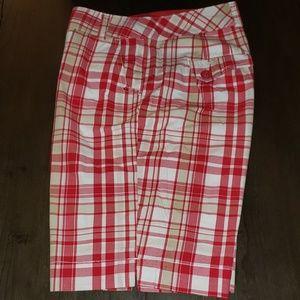 New Cato Red Plaid Bermuda Shorts